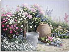Artland Wandbild Eimer, umgeben von Blumen,