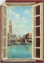 Artland Wandbild Fenster mit Blick auf Venedig