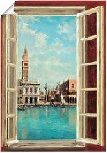 Artland Wandbild Fenster mit Blick auf Venedig,
