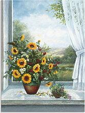 Artland Wandbild Sonnenblumen am Fenster 30x40 cm,