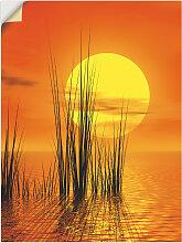 Artland Wandbild Sonnenuntergang mit Schilf,