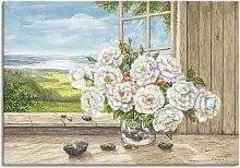Artland Wandbild Weiße Rosen am Fenster 100x70