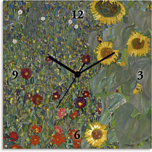 Artland Wanduhr Garten mit Sonnenblumen, lautlos,
