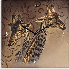 Artland Wanduhr Giraffen Einheitsgröße braun
