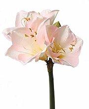 artplants.de Künstliche Amaryllis, rosa - weiß,