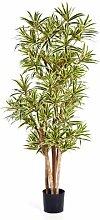 artplants - Deko Dracaena Reflexa Pflanze YASU, gelb-grün, 120 cm - Kunst Zimmerbaum / Künstlicher Drachenbaum
