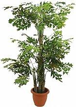 artplants - Deko Fischschwanz Palmbaum mit 1540 Blättern, Früchte, 3-stämmig, 295 cm - Künstlicher Baum Groß / Kunstpflanze