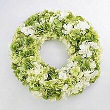 artplants Großer Hortensienkranz, Creme-grün, Ø