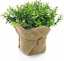 artplants - Künstliche Gartenkresse VITUS im Jutesack, grün, 17 cm - Kunstpflanze / Deko Kräuter Pflanze