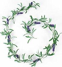 artplants Künstliche Lavendelgirlande mit Blättern und Rispen, dunkelviolett, 180cm - Kunst Girlande/Sommer Deko Pflanze