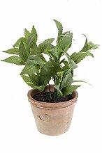 artplants - Künstliche Minze LUCANO im Terracotta Topf, grün, 28 cm - Kunstpflanze / Küchen Kräuter Pflanze