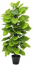 artplants - Künstliche Pothos Pflanze mit Palmfaserstamm, getopft, 125 cm - Deko Kletterpflanze / Kunstpflanzen Ranke