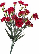 artplants - Künstliche Spraynelken LENJA mit 21 Blüten, rot, auf Steckstab, 50cm, Ø25cm - Nelken Kunstblumen / Deko Blumen Busch