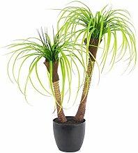 artplants - Künstliche Yucca Palme mit 2 Stämmen, im Dekotopf, 90 cm - Deko Yucca Pflanze / Unechter Palmlilien Baum