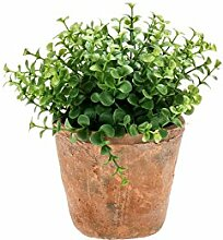 artplants - Künstlicher Eukalyptus LUCANO im Terracotta Topf, grün, 20 cm - Kunstpflanze / Küchen Kräuter Pflanze
