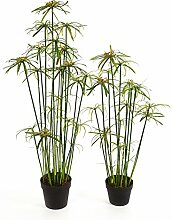 artplants - Künstlicher Papyrus MOUSSA, gelb-grün, 100 cm - Kunststoff Zyperngras / Deko Papierpflanzen Staude