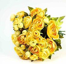 artplants - Künstlicher Ranunkelstrauß mit 18 Blüten, gelb, 30cm, Ø 25cm - Blumenstrauß künstlich