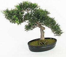 artplants Künstlicher Teeblatt Bonsai in Schale,