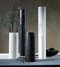 Artra Mango-Holz-Vase 36cm schwarz lackiert,