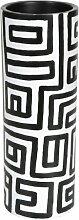 Artra Mango Massivholz Holz Vase Motiv Black &
