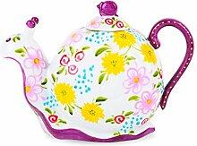 Artvigor, Porzellan Tee Kaffee Kanne, Handbemalt,