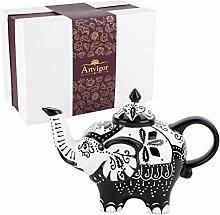 Artvigor, Porzellan Teekanne, 800 ml Handbemalt