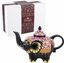 Artvigor, Porzellan Teekanne, Handbemalt Elefant