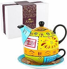 Artvigor, Tea for one, Porzellan Tee Set, 4-teilig