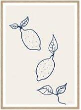 artvoll - Lemons Poster mit Rahmen, Eiche natur,