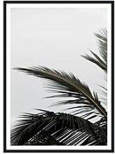artvoll - Palm Leaf Poster mit Rahmen, schwarz, 50