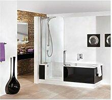 Artweger Twinline 2 Duschbadewanne mit Türe 160 x 75 cm Duschabtrennung silber matt mit Schürze ARTWALL Ros