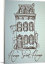 artzee Designs Décor Leinwand fertig zum aufhängen Geschenkidee Moderne Zitat Sweet Home Abstrakt Art Wand für Küche Wohnzimmer Schlafzimmer Flur 40,6x 50,8cm Multicolor, 40,6x 50,8cm