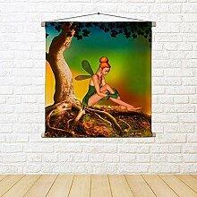 ArtzFolio Fairy Sitting Under A Bonsai Tree Canvas