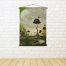 ArtzFolio Landscape with Butterfly & Mushrooms