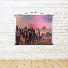 ArtzFolio Landscape with Rocky Mountains & Planets