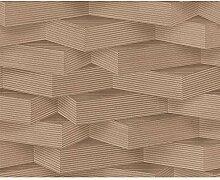 AS Creation - Nicht gewebte Tapete mit 3D-Effekt Holzblock Streifen - Beige 960001