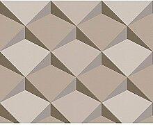 AS Creation Tapete mit Diamant Muster 3D Effekt Abstrakte Formen Nicht Gewebt - Braun Beige 960312