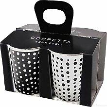 ASA 44200214 Coppetta Becher Espresso 4er Set, Porzellan, Schwarz/Weiß, 6.5 x 6.5 x 7 cm, 4 Einheiten