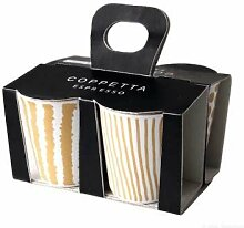 ASA 44200425 Coppetta 4er Set Espressobecher, Keramik, gelbgold - weiß, 6.5 x 6.5 x 7 cm
