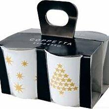 ASA 44300425 Coppetta 4er Set Espressobecher, Keramik, gelbgold - weiß, 6.5 x 6.5 x 7 cm