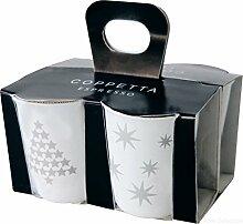 ASA 44300427 Coppetta 4er Set Espressobecher, Keramik, silber - weiß, 6.5 x 6.5 x 7 cm