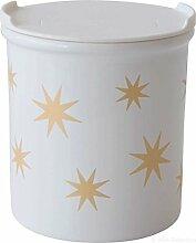 ASA 4871425 Vorratsdose Sterne - gold/weiß - Porzellan Ø 9 cm Höhe 10 cm