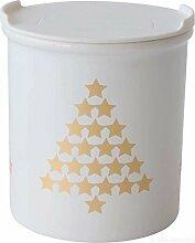 ASA 4872425 Vorratsdose Tannenbäume - Porzellan - weiß / gold Höhe 10 cm Ø 9 cm