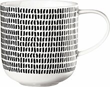 ASA Coppa Henkelbecher, Becher, Tasse, Kaffeebecher, Fine Bone China, Schwarz / Weiß, 19115014
