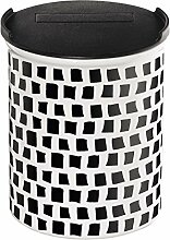 ASA Coppa Vorratsdose, Dose, Behälter, mit Deckel, Squares, Keramik, Schwarz / Weiß, 4876014