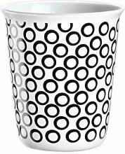 ASA Coppetta Becher Espresso, Kaffeetasse, Tasse, Keramik, Circles, Schwarz / Weiß, 100 ml, 44008214