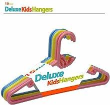 Asab Kinder Kids Deluxe Kunststoff glatt Kleiderbügel Kleidung Tri Farbe blau gelb rosa Haken Lippen Kleiderschrank Stauraum Organizer, Blue/Pink/Yellow, 1 Pack (10 Hangers)