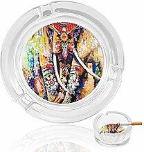 Aschenbecher aus Glas, Elefanten mit Blumen, für