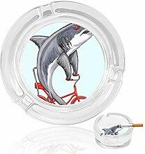 Aschenbecher aus Glas, Haifischfahrrad, für