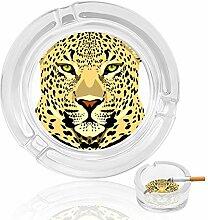 Aschenbecher aus Glas, Leopardengesicht, für